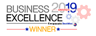 "Logo with text that reads: ""Business Excellence 2019 Awards Corporate Insider"""