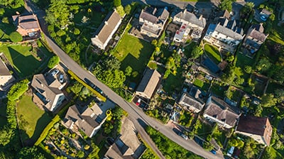 Birds eye view of suburban neighborhood