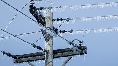 Powerlines with icicles hanging from them