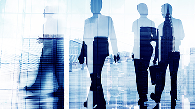 Silhouettes of business people in blue and white