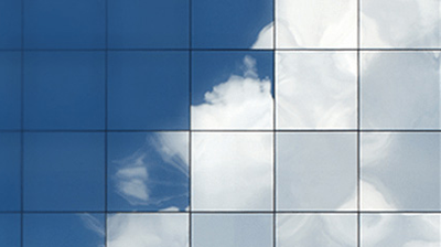 Blue sky with clouds divided into a series of squares