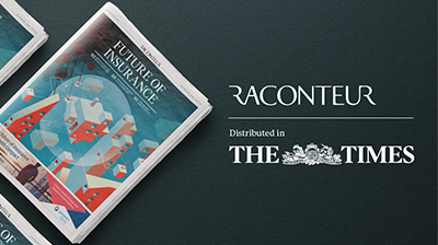 "Image of newspaper laid out on a table with words ""Raconteur - Distributed in the Times"" next to it"