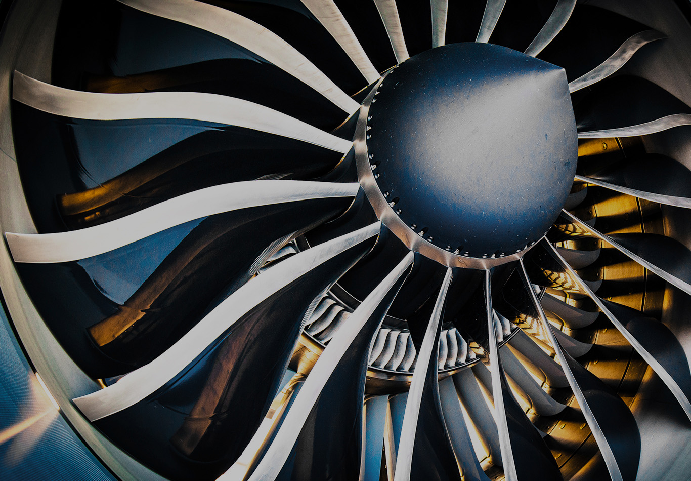A detailed shot of a turbine engine