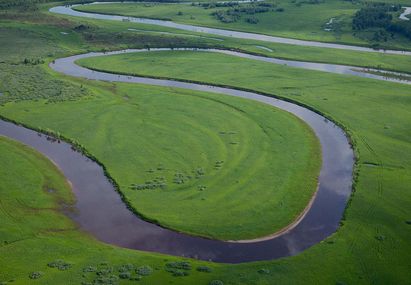 A meandering river in a green field